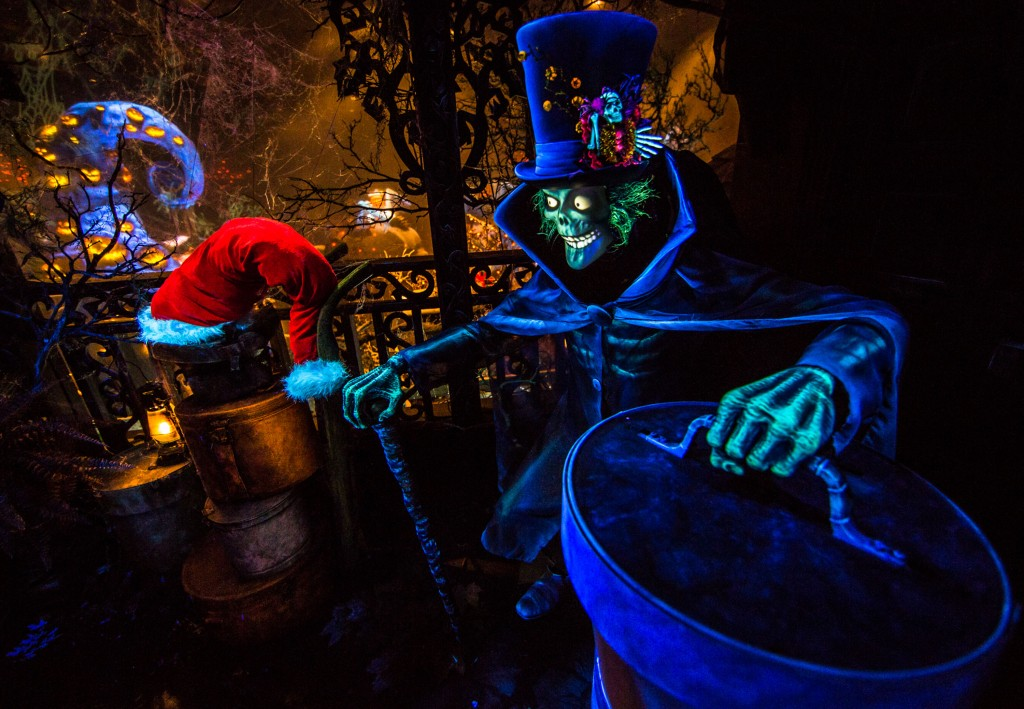 "HATBOX GHOST SPREADS HOLIDAY CHEER (ANAHEIM, Calif.) – The new Hatbox Ghost gets into the ""spirit"" with seasonal hats as he helps Jack Skellington spread eerie holiday cheer at Haunted Mansion Holiday, where guests can see Halloween and Christmas collide at Disneyland Park. This festive attraction is just one of the special features guests will experience through the Halloween and Holiday seasons at the Disneyland Resort, from now until Jan. 6, 2016. (Disneyland Resort)"
