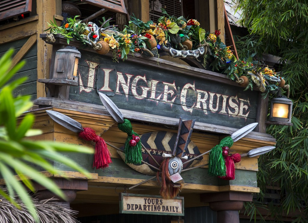 "JINGLE CRUISE (ANAHEIM, Calif.) – Jingle Cruise invites guests to join a jolly excursion at Disneyland park, as the Jungle Skippers spread holiday cheer while they're far away from home – only during the Holidays at the Disneyland Resort, Nov. 13 through Jan. 6, 2016. In celebration of the season, Disneyland park transforms into a dazzling winter wonderland with festive décor, holiday-themed treats and attractions transformed for the season of ""it's a small world"" Holiday and Haunted Mansion Holiday. This year, the Diamond Celebration adds even more sparkle to the exciting entertainment, which includes ""A Christmas Fantasy"" parade, ""Disney ¡Viva Navidad!,"" ""Paint the Night"" and the ""Disneyland Forever"" fireworks spectacular. (Paul Hiffmeyer/Disneyland Resort)"