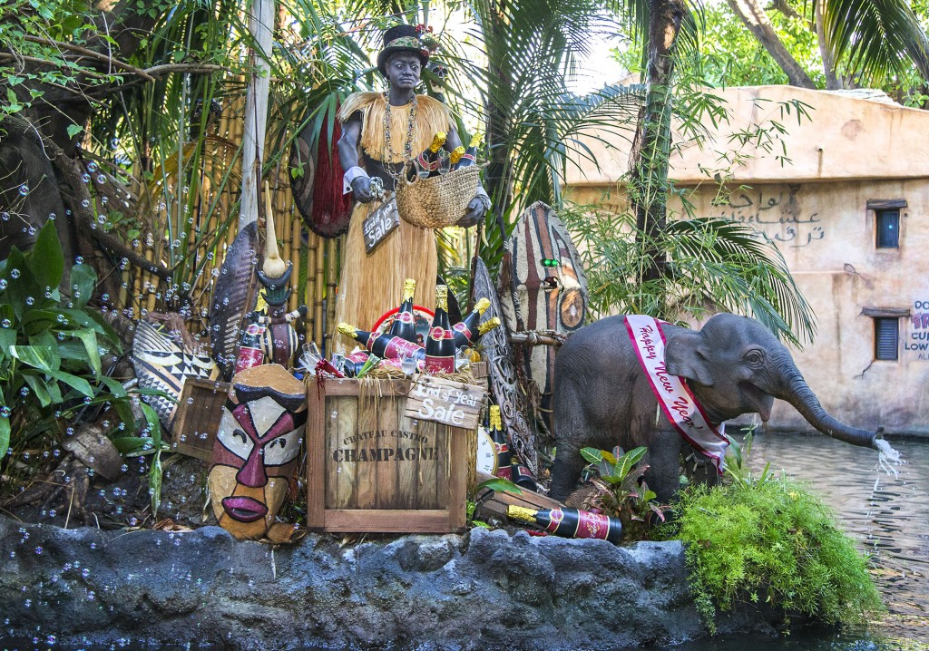 "JINGLE CRUISE (ANAHEIM, Calif.) – Jingle Cruise invites guests to join a jolly excursion at Disneyland park, as the Jungle Skippers spread holiday cheer while they're far away from home – only during the Holidays at the Disneyland Resort, Nov. 13 through Jan. 6, 2016. In celebration of the season, Disneyland park transforms into a dazzling winter wonderland with beautiful décor, snowfall on Main Street, U.S.A. and attractions created for the season of ""it's a small world"" Holiday and Haunted Mansion Holiday. This year, the Diamond Celebration adds even more sparkle to the festive entertainment with A Christmas Fantasy parade, ""Disney ¡Viva Navidad!,"" ""Paint the Night"" and the ""Disneyland Forever"" fireworks spectacular. (Paul Hiffmeyer/Disneyland Resort)"