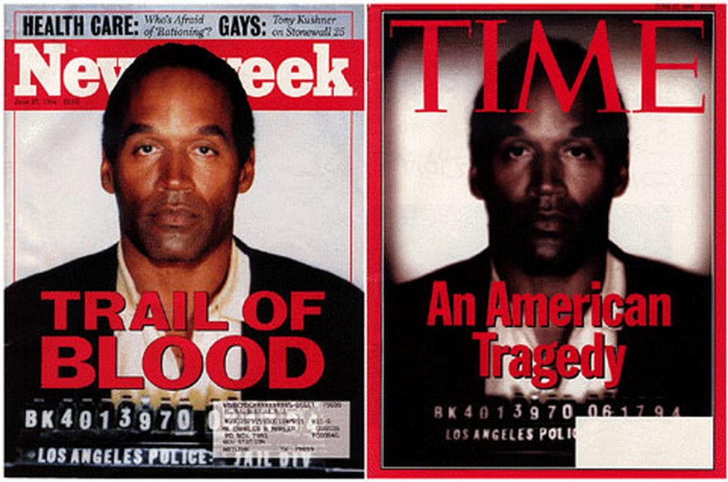 O.J. Simpson on the cover of Newsweek, and the darkened image on the front of Time