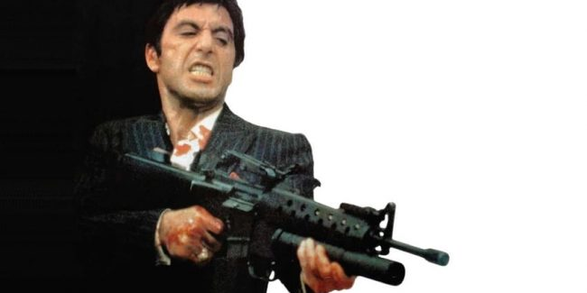 Al Pacino with his n M16A1 rifle with M-203 grenade-launcher attachment in Scarface