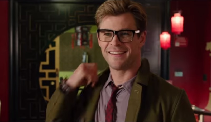 Chris Hemsworth - with specs - making his introduction in the new Ghostbusters trailer