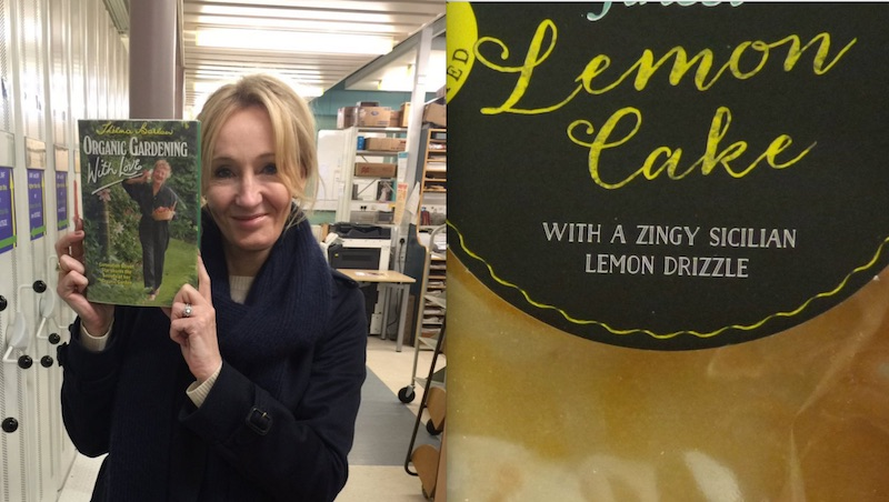 JK Rowling while attending the book group and, right, the cake she was promised