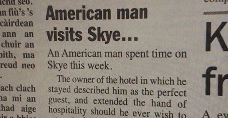 Scottish newspaper's hilarious story about Kanye West's visit to Isle of Skye