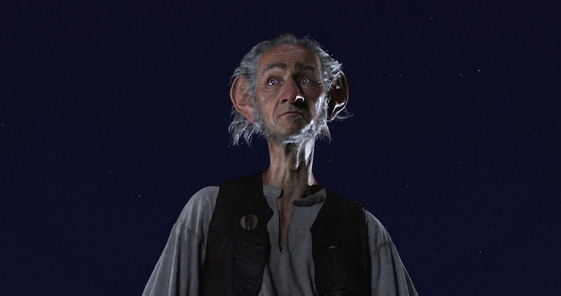 Mark Rylance as the Big Friendly Giant in Spielberg's The BFG