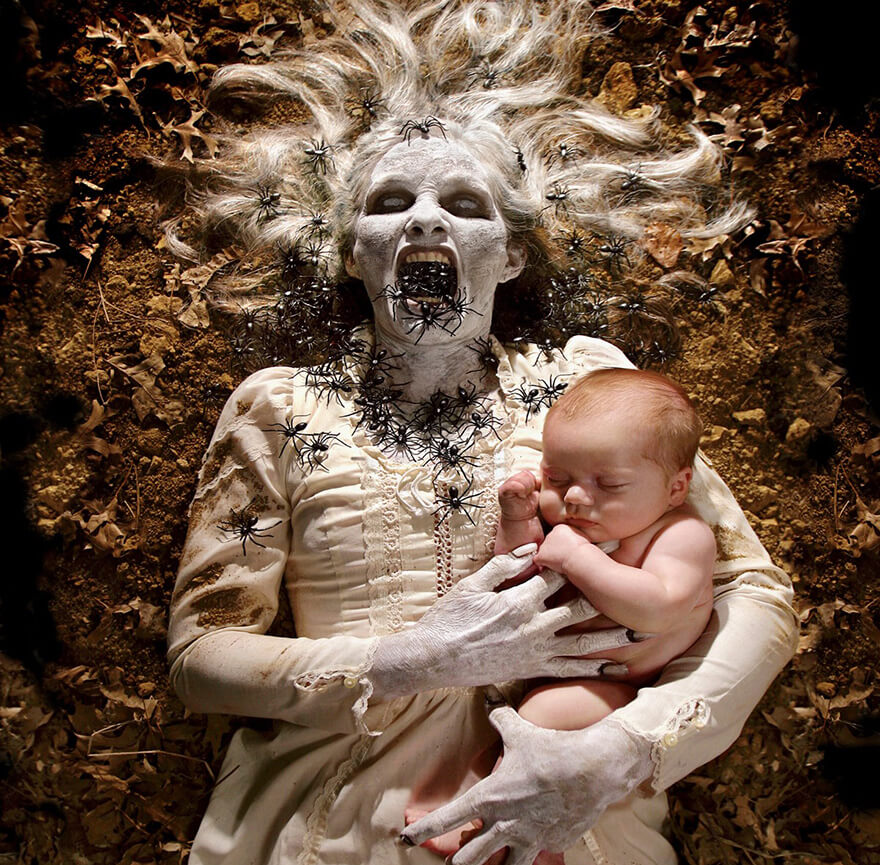 Dad creates terrifying horror photographs using his daughters