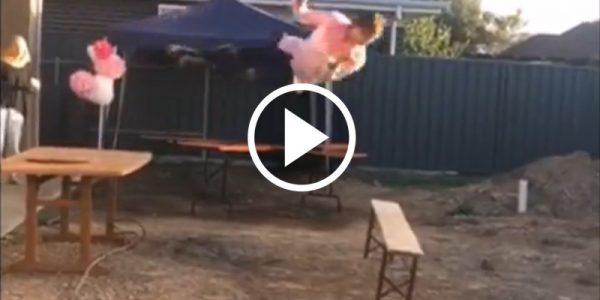 Australian guy tries to body slam bench in epic fail