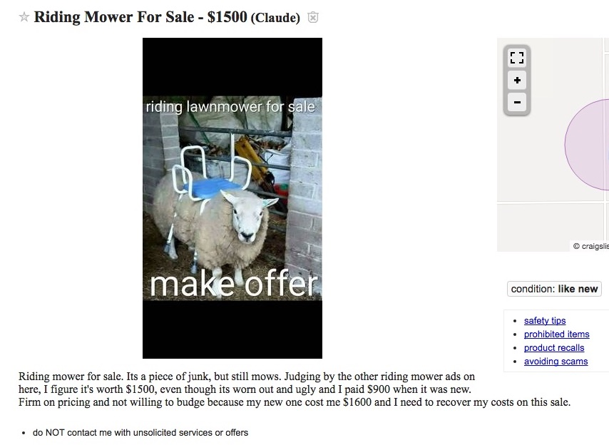 $1,500 'riding mower' on Craigslist is a sheep