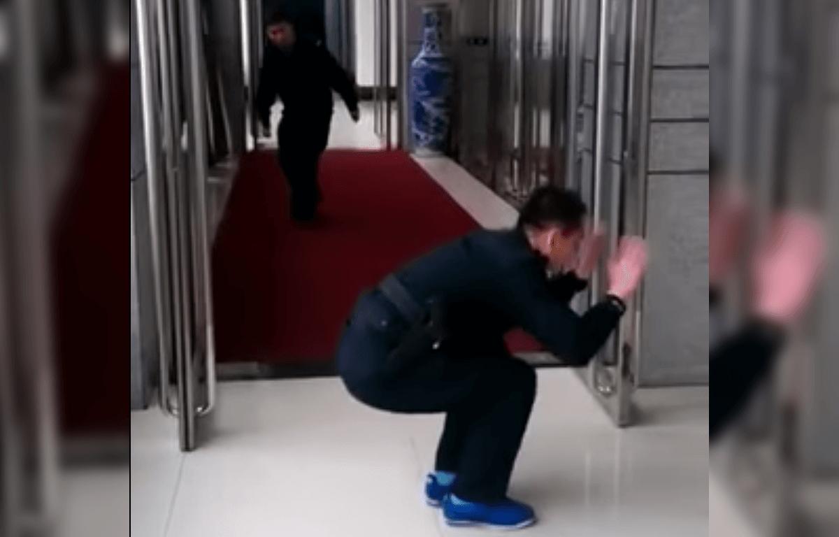 Security guards prank colleague with fake 'gun-shots'