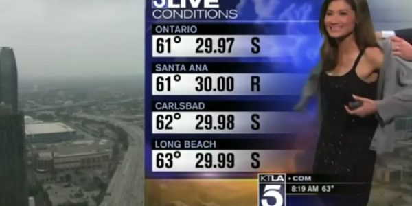 Weather girl handed sweater live on air after viewers complain about dress