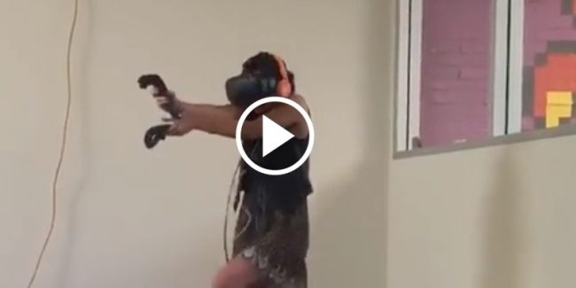 This girl totally FREAKS OUT playing virtual reality zombie game