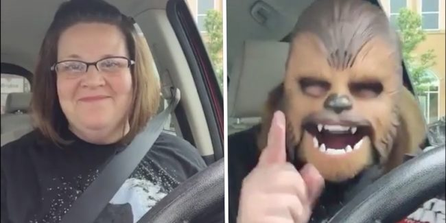 This woman trying on her Chewbacca mask will leave you in stitches