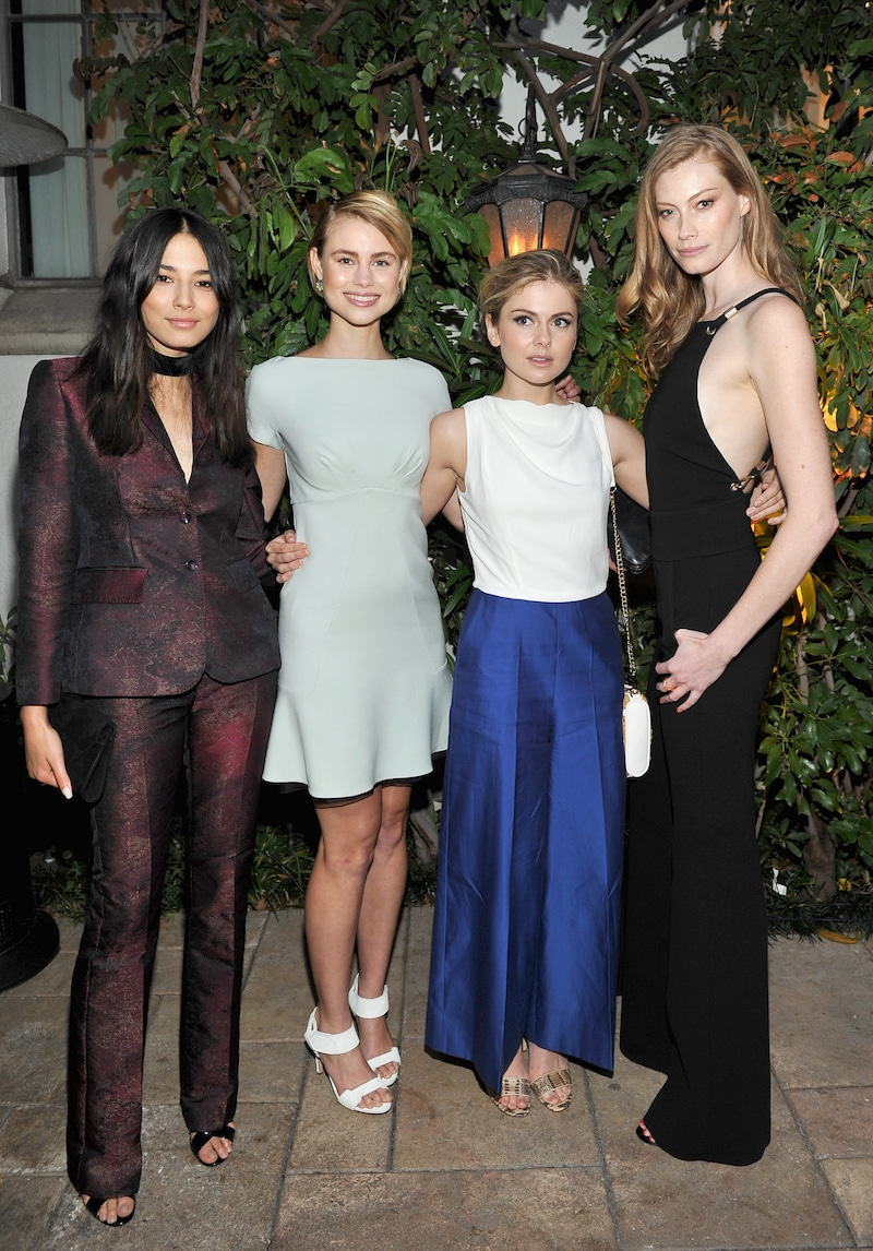 LOS ANGELES, CA - JUNE 14: (L-R) Model Jessica Gomes, actresses Lucy Fry, Rose McIver and Alyssa Sutherland, all wearing Max Mara, attend Max Mara Celebrates Natalie Dormer - The 2016 Women In Film Max Mara Face Of The Future at Chateau Marmont on June 14, 2016 in Los Angeles, California. (Photo by Donato Sardella/Getty Images for Max Mara)