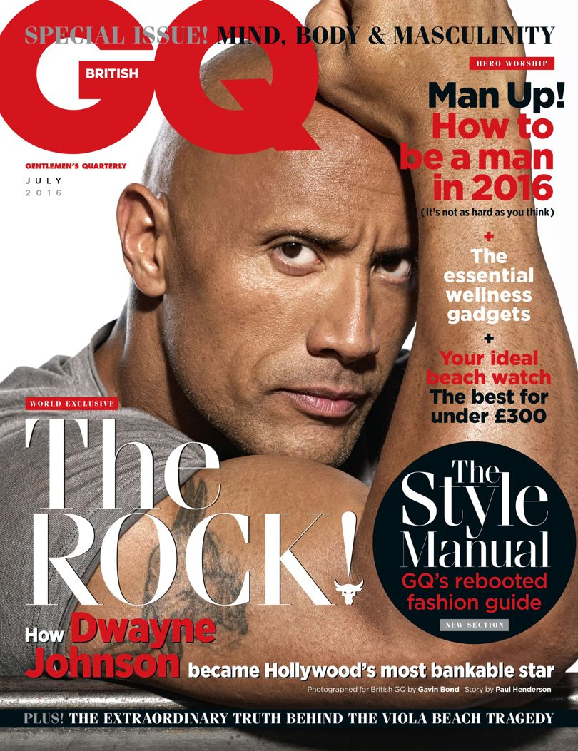 Dwayne Johnson on the cover of the new edition of British GQ