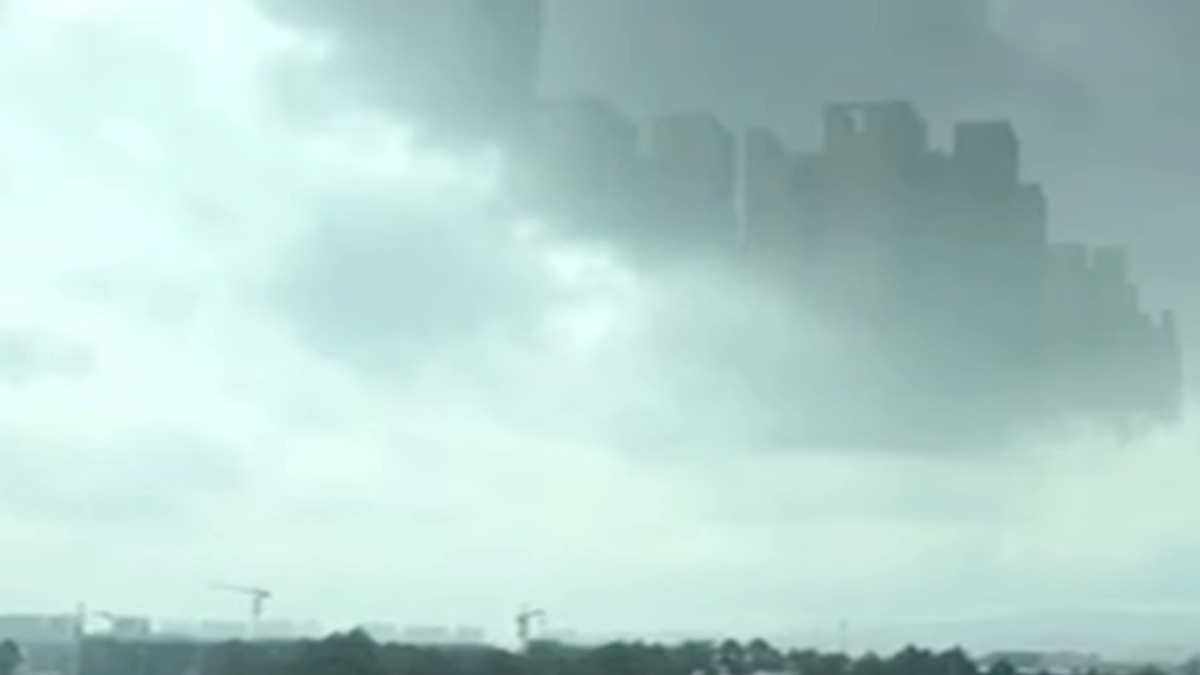 What looks like skyscrapers in the sky