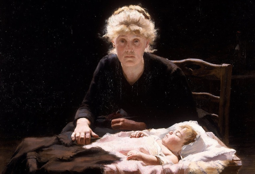 a painting depicting the character Fantine from Les Miserables.