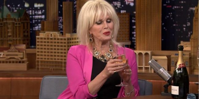 Sweetie darling! Joanna Lumley knocks back some Bolly with Fallon