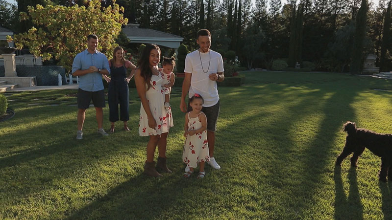 Ayesha and Stephen Curry with their daughters checking out their new den in Playhouse Masters