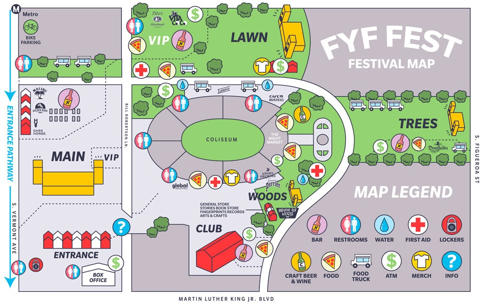The map for this weekend's FYF Fest, which is the biggest to date