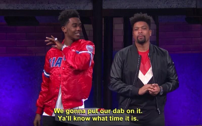 Desiigner and his subtitles on tonight's season premiere of Joking Off