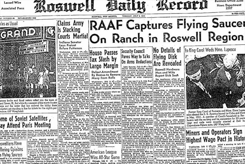 Press story on Roswell crash