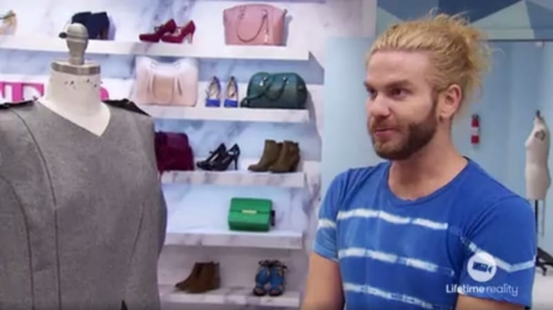 Brik talks to Tim Gunn about his design on this week's Project Runway