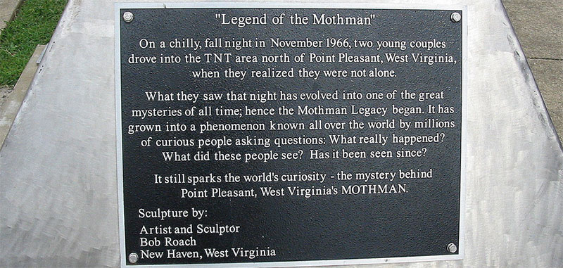 A plaque telling the story of the Mothman