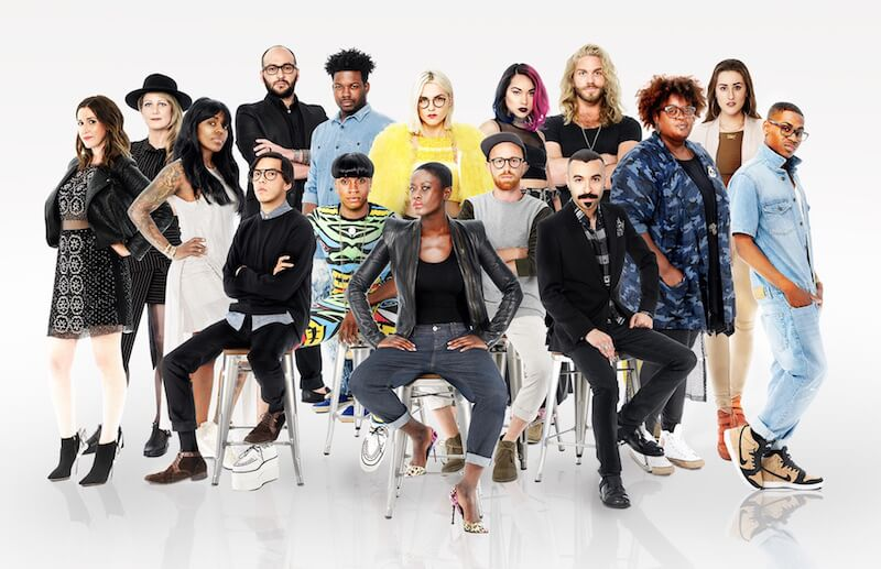 Cast of designers competing in season 15 of project runway on lifetime