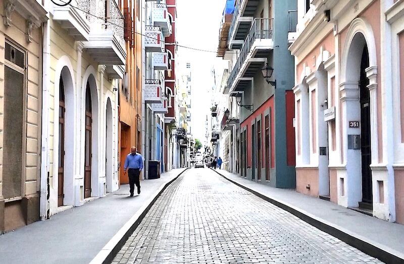 An almost deserted historic street in San Juan, Puerto Rico