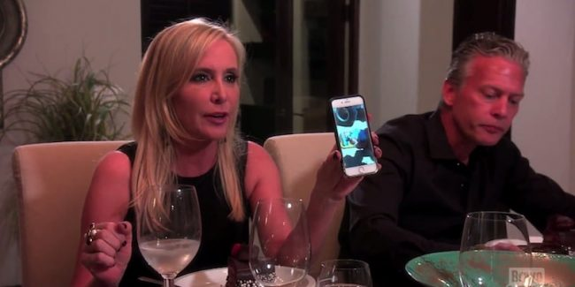 Shannon Beador with the photo of Vicki on a gurney on this week's The Real Housewives of Orange County