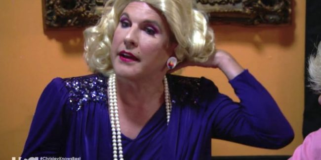 Todd dressed as a drag queen in blonde wig and blue dress on this week's episode of Chrisley Knows Best
