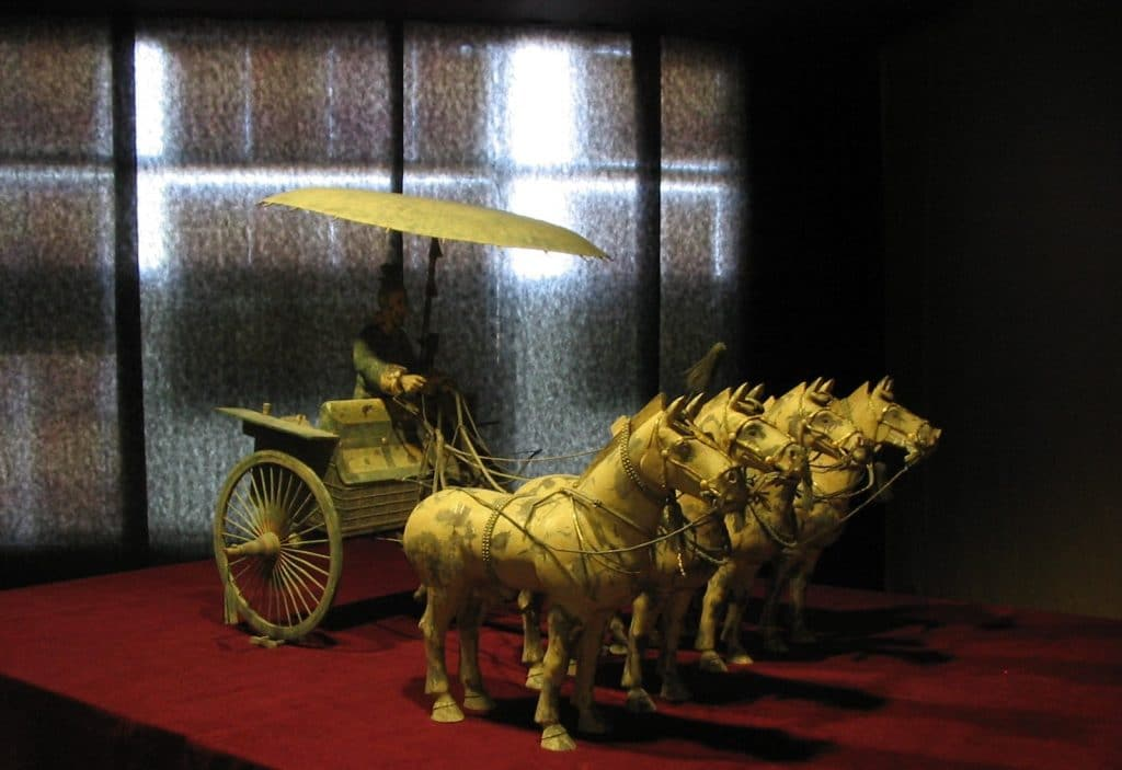 A chariot and horses found near the Emperor's tomb.
