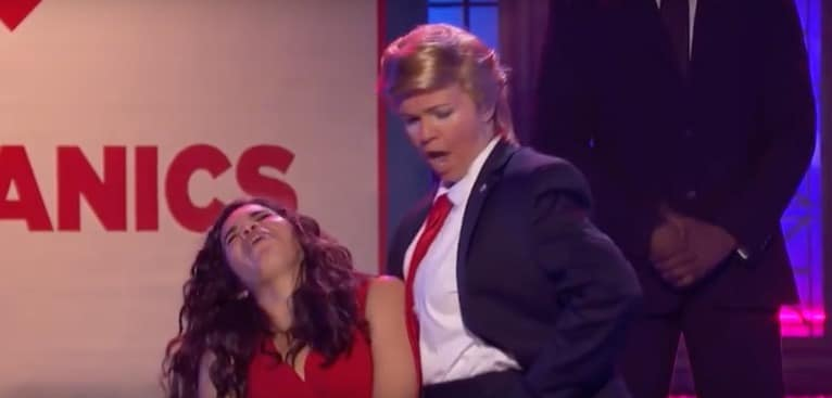 Amber Tamblyn as Donald Trump vs. America Ferrera on Lip Sync Battle
