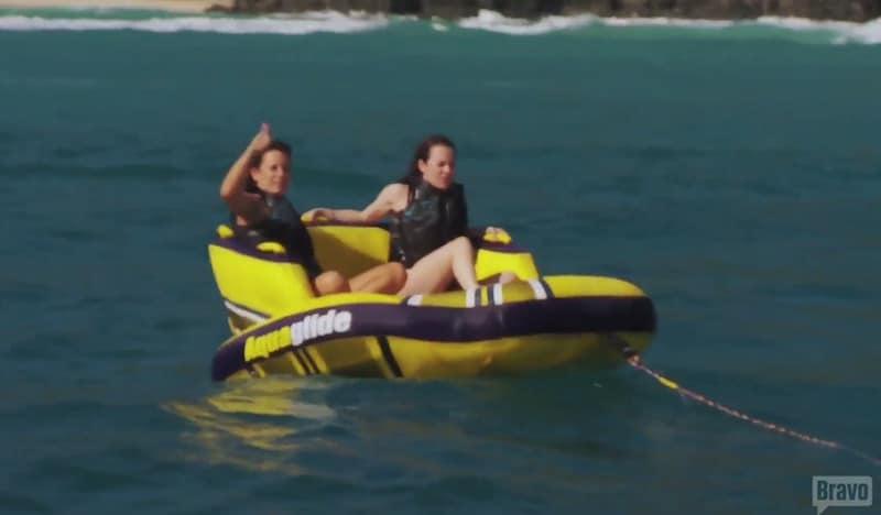 The female charter guests start their tubing experience which ends in disaster on Below Deck