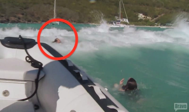 The moment one of the guests is nearly dragged under by waves on this week's Below Deck