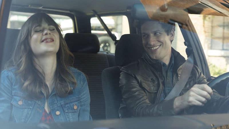Zooey Deschanel's Jess and Andy Samberg's Jake as New Girl and Brooklyn Nine-Nine meet on screen