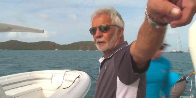 Captain Lee gives Kelley instructions as he tries to move the pool on this week's Below Deck