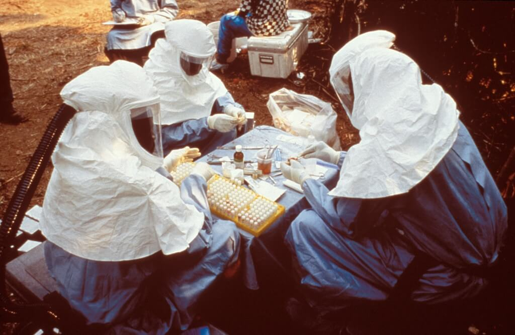 Scientists testing animal samples for the Ebola virus in what was then Zaire in 1995