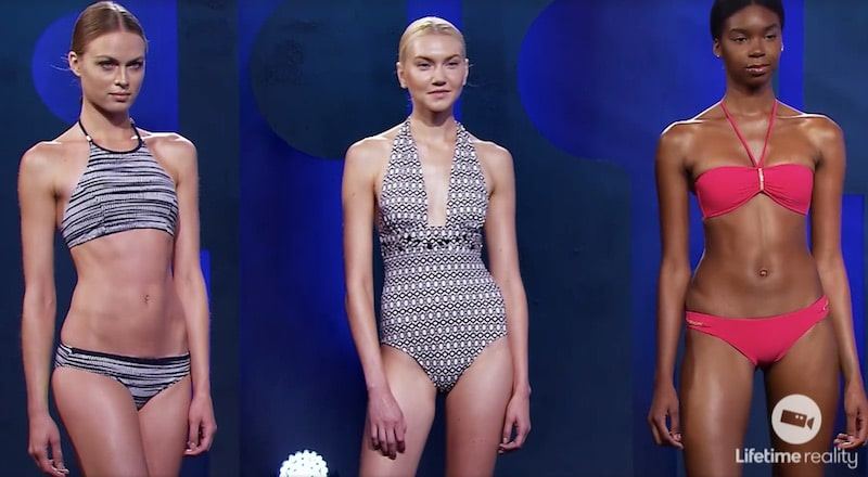 Models wearing some example swimsuits ahead of this week's Project Runway challenge