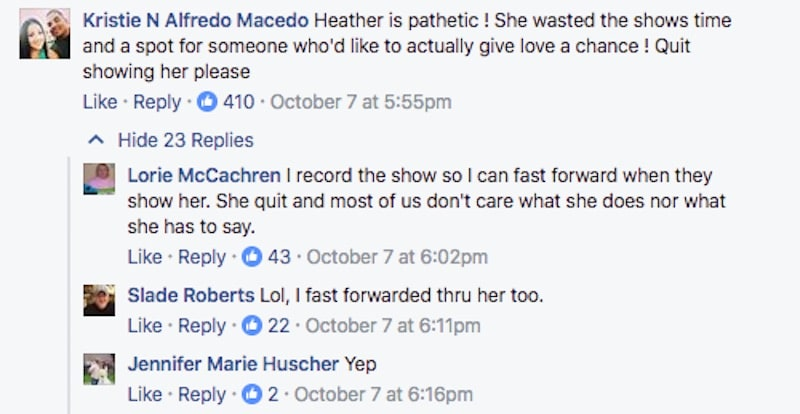 Married at First Sight Facebook comment