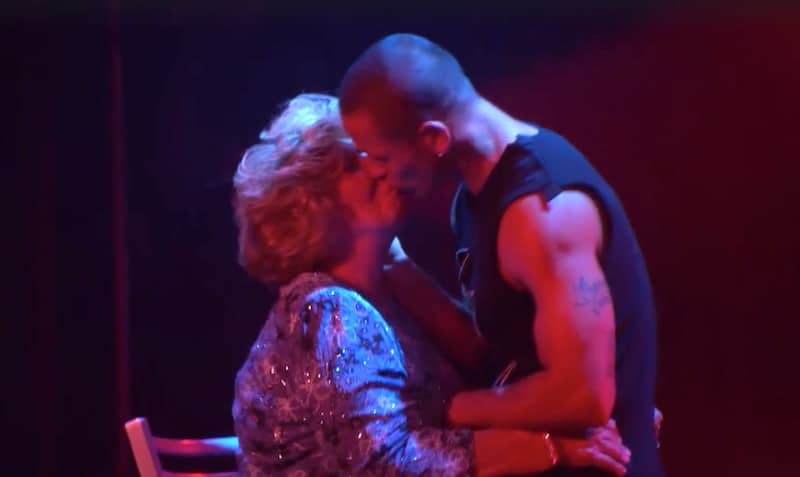 Nanny Faye goes in for a smooch with the Las Vegas dancer on Chrisley Knows Best