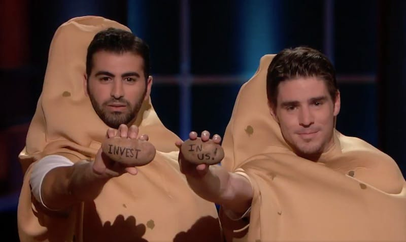Potato Parcel owner Riad Bekhit, left, on Shark Tank