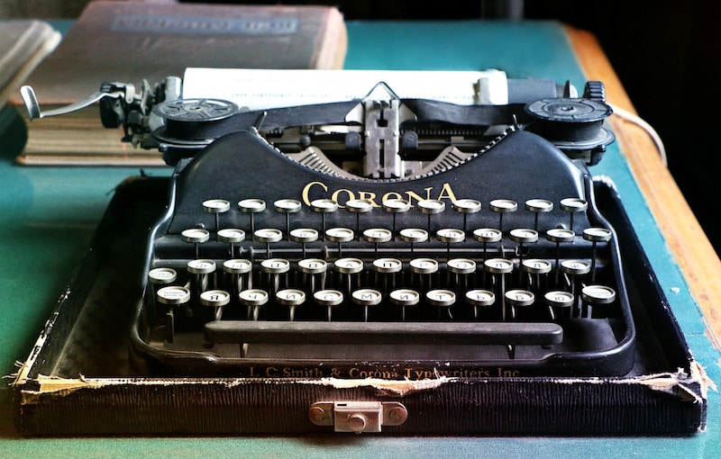 A typewriter, on which many a weird word has been written