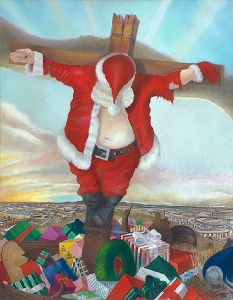 Cenedella's The Presence of Man, featuring Santa Claus on a cross surrounded by presents