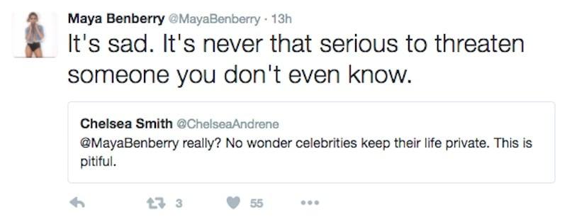 """Maya Benberry """"sad"""" tweet"""
