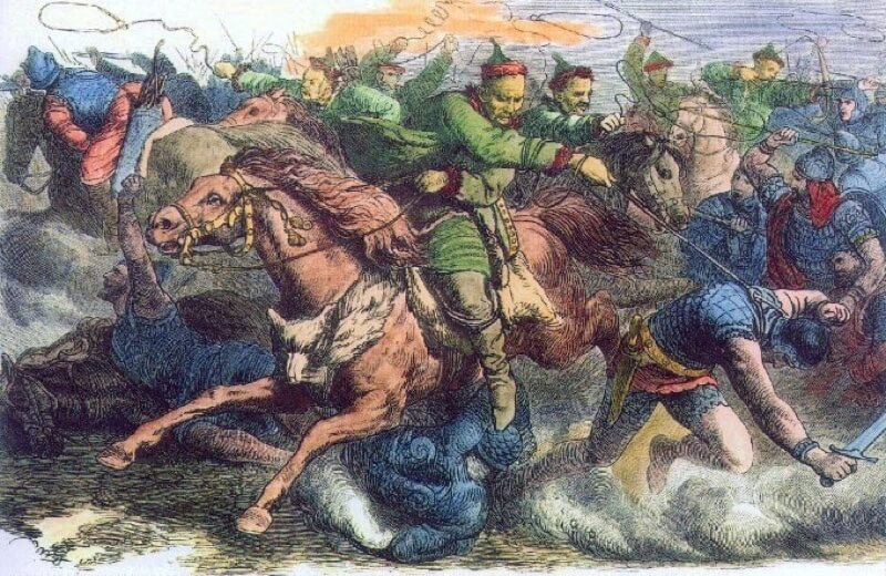 Atilla battles the Allans in a engraving based on a Geiger drawing
