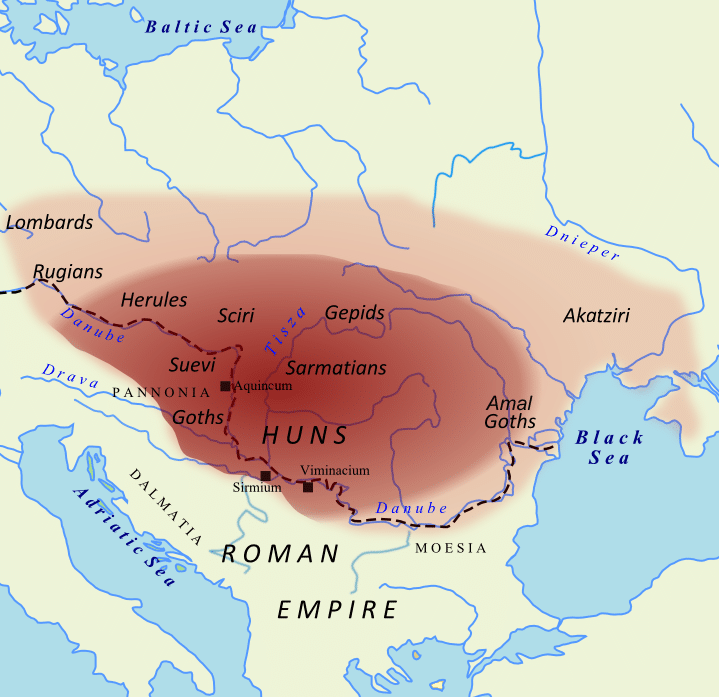 The extend of the Huns's empire at the time of Atilla on a map