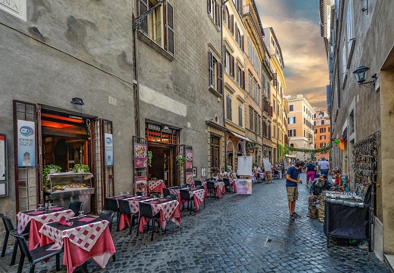 Row of restaurants