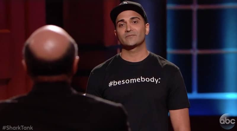 Founder and CEO of #besomebody, Kash Shaikh, during his pitch on Shark Tank