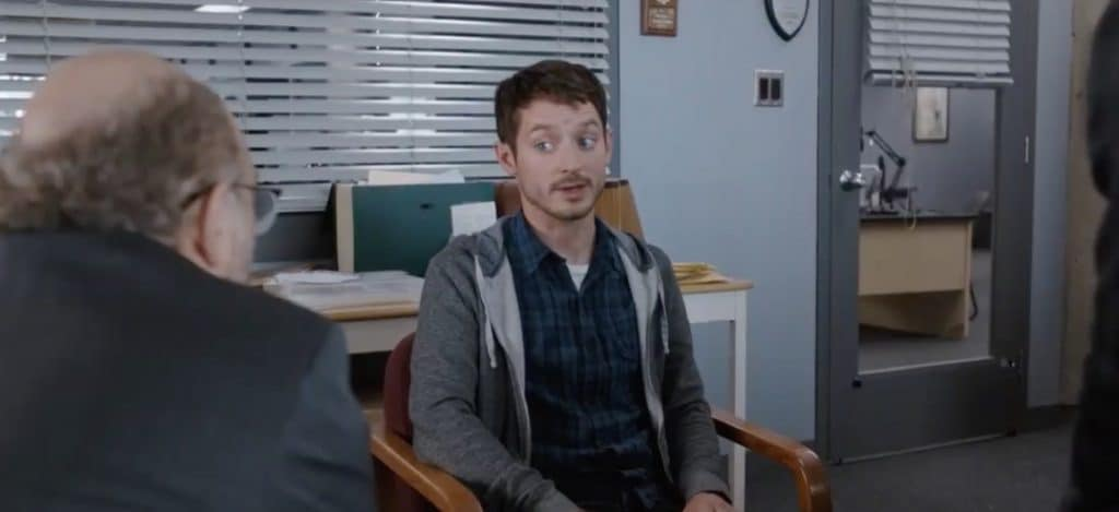 Dirk Gently's Holistic Detective Agency with Elijah Wood as Todd being questioned by the cops